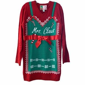 Ugly Christmas Sweater Dress Mrs. Claus NWT Large